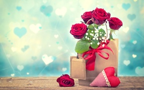 Wallpaper gypsophila, heart, package, roses, Valentine's Day