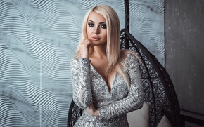 Picture girl, pose, makeup, figure, dress, hairstyle, blonde, beauty, Elina, Anton Harisov