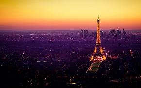 Picture lights, France, Paris, Eiffel tower, twilight