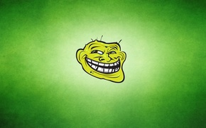 Picture green, smile, Trollface, The trollface, toothy, greenish background, the face of a Troll