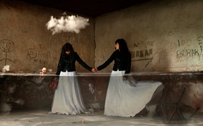 Picture water, girl, fantasy, room, rain, cloud, art