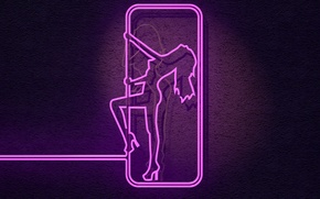Picture girl, wall, fluorescent, neon lights, female figure