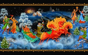 Picture Christmas, New year, dancing, sleigh, three, painting, Palekh miniature, Palekh