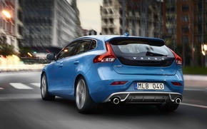 Picture the city, blue, street, Volvo, Volvo, blue, back, universal, feed, V40, C40, R-Design