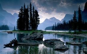 Wallpaper lake, mountains, stones