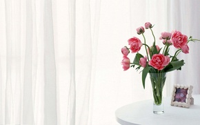 Picture frame, curtains, pink, peonies, white table
