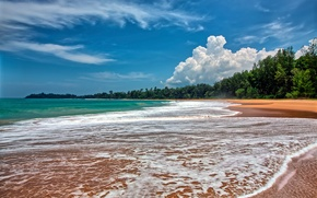 Picture beach, the sky, clouds, surf