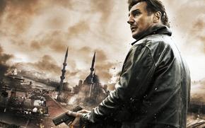 Picture the city, gun, roof, Liam Neeson, Liam Neeson, Taken 2, Hostage 2