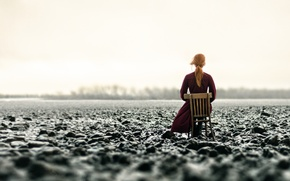 Picture girl, snow, chair, arable land, Inna Mosina