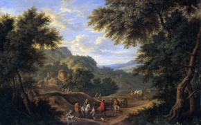 Picture trees, people, picture, Adrian Frans Boudewyns, A landscape with Travelers