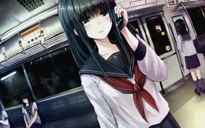 Picture girl, night, the city, lights, metro, art, the car, phone, form, schoolgirl, minato, shouno, mobile