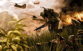 Picture weapons, explosions, battle, jungle, soldiers, Vietnam, helicopters, wounded, Chinook