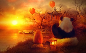 Picture bird, land, sun, awesome, amazing, great, wonderful, balloons, stunning, charming, magical, marvellous