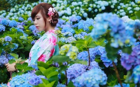 Picture summer, flowers, face, Asian, beauty