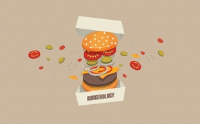 Picture background, box, meat, vegetables, Burger, Burgerology