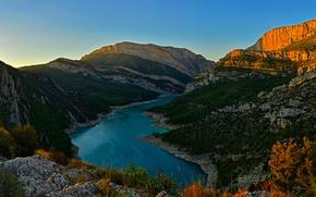 Picture forest, mountains, lake, rocks, dawn, Spain, Pertusa