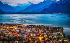 Picture landscape, mountains, night, lights, lake, coast, home, Switzerland, Geneva, Vevey on Lake