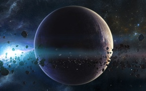 Picture planet, stars, asteroids, galaxy, belt