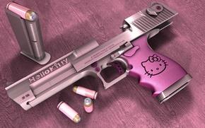 Wallpaper Hello Kitty, Desert eagle, pink