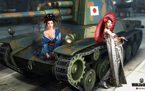 Wallpaper umbrella, girls, figure, katana, art, samurai, tank, Asian girls, Japanese, average, World of Tanks, Nikita ...