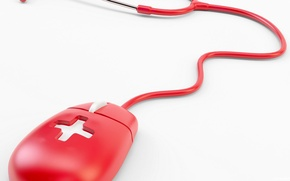 Picture BACKGROUND, WHITE, RED, MOUSE, WIRE, CROSS, MOUSE, MEDICINE