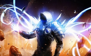 Picture the explosion, fragments, lights, magic, armor, the demon, hood, Diablo 3, Tyrael
