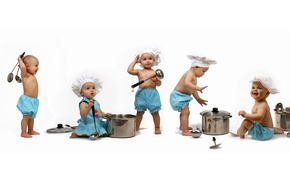Picture children, child, baby, dishes, pots, cooks
