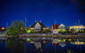 Picture the sky, night, pond, street, home, stars, The city, sky, night, stars, street, houses, town, …
