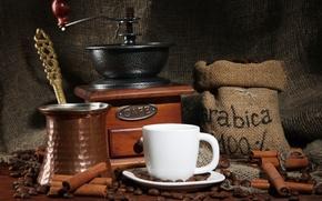 Picture coffee, Cup, cinnamon, natural, Turk, coffee grinder, grain