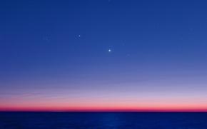 Picture the ocean, Jupiter, Venus, twilight, The Pleiades, Aldebaran