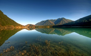 Picture the sky, water, transparency, mountains, lake