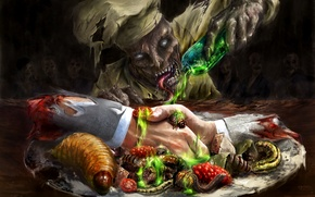 Picture insects, blood, bottle, hands, art, zombies, cook, larvae, waiting, undead, dish, handshake, cook, flask, acid