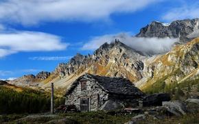 Picture landscape, mountains, house