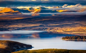Picture the sky, clouds, trees, sunset, mountains, lake