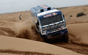 Picture sand, the sky, desert, people, speed, dust, KAMAZ, kamaz, silk road, kamaz master, KAMAZ master