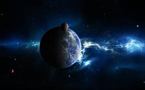 Picture space, stars, planet, sputniki