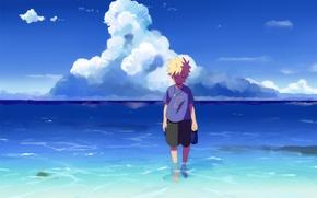 Wallpaper sea, the sky, art, Anime, Naruto, Naruto, Uzumaki Naruto, Uzumaki Naruto