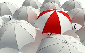 Picture white, red, umbrella, grey, mediocrity, umbrella, umbrella, the difference, stand out from the crowd