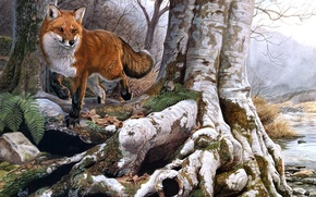 Picture autumn, forest, river, stream, Fox, red, painting, Al Agnew, Running Wild