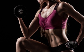Wallpaper workout, female, dumbbells, sportswear, fitness