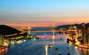 Picture sea, the sky, sunset, bridge, the city, lights, Strait, boats, the evening, Hong Kong