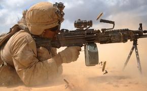 Picture soldier, military, machine gun light