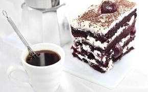 Picture cherry, cream, cake, dessert, chocolate, food, coffee