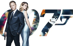 Picture poster, 007: RANGE, SPECTRE, in black, agent, dress, gun, background, Lea Seydoux, blonde, Lea Seydoux, ...