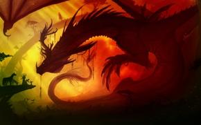 Wallpaper dragon, people, horses