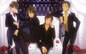 Picture grille, guys, costumes, The Melancholy Of Haruhi Suzumiya, red roses, sitting in the chair, handsome, …