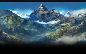 Picture mountains, city, Kyrat, Far cry 4