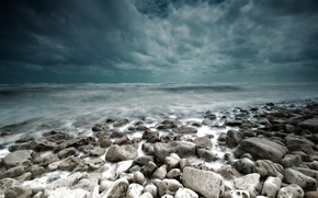 Wallpaper sea, landscape, clouds, storm, stones, storm, landscape