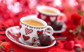 Picture flowers, holiday, coffee, roses, candy, Cup, hearts, grain, bokeh, Valentine's day