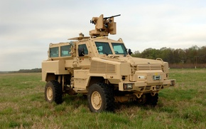 Picture field, grass, armored car, four-wheel drive, RG-33